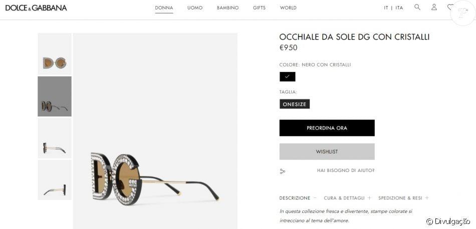 19708576d Óculos de sol da grife Dolce & Gabbana usado por Anitta pode ser comprado  no site oficial por R$ 3.826,19