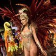 Daniela Albuquerque, rainha da Tucuruvi, destacou a superação da escola de samba, que teve 90% dos adereços queimados