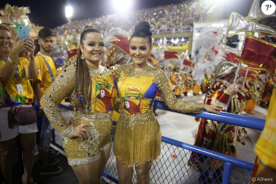 Maiara e a irmã, Maraisa, estiveram no camarote Guanabara na Marquês de Sapucaí na noite deste domingo, 11 de fevereiro de 2018