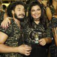 Fabiana Karla conferiu a passagem das escolas de samba na companhia de Diogo Mello no espaço N1: 'Estamos nos conhecendo'