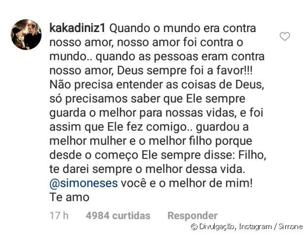 Simone, da dupla com Simaria, ganhou uma declaração do marido, Kaká Diniz