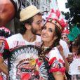 Fátima Bernardes e o namorado, Túlio Gadêlha, foram juntos ao Cacique de Ramos, no Rio de Janeiro