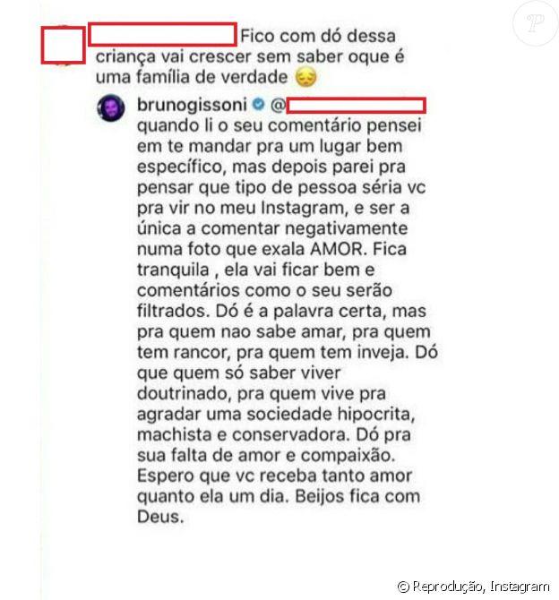 Bruno Gissoni responde comentário maldoso de internauta sobre família