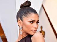 Zendaya usa coque superalto e mantém penteado polido em festa após Oscar 2018