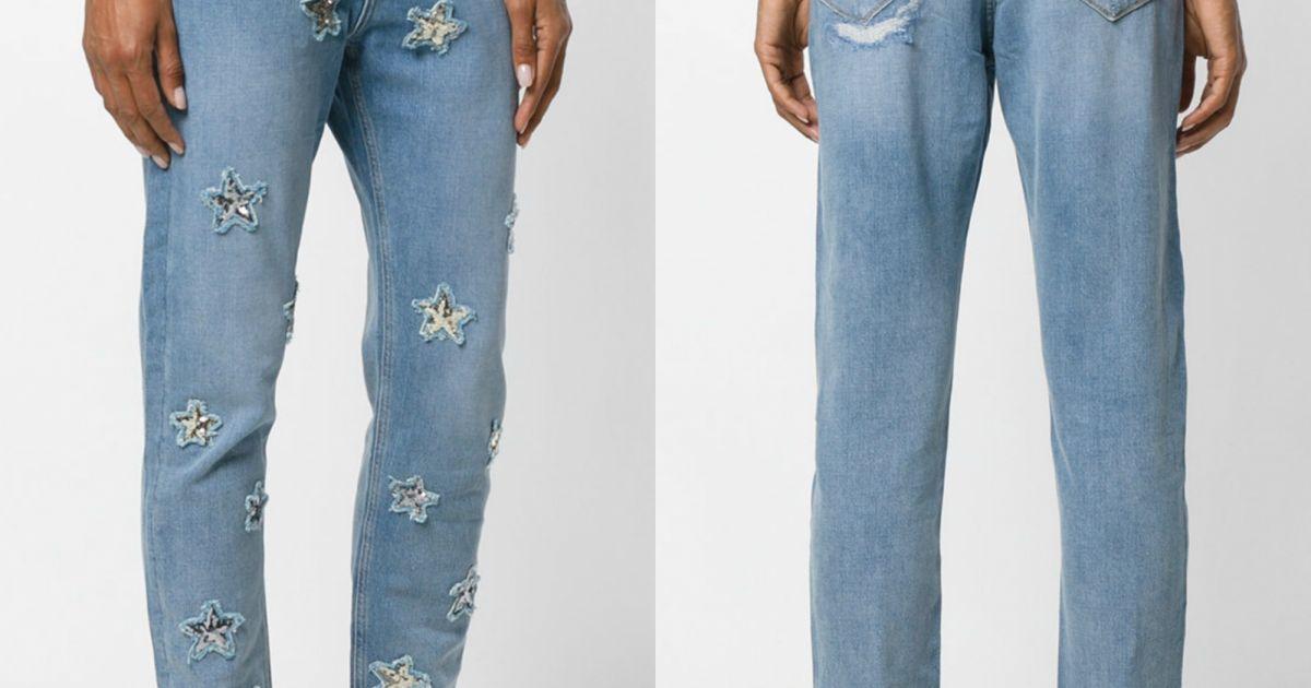 11322cf53 Calça jeans reta básica com toque especial  aplicação de estrelas em  paetês. O modelo assiando por Zoe Karssen é vendido no site Farfetch por  R 1.176 - ...
