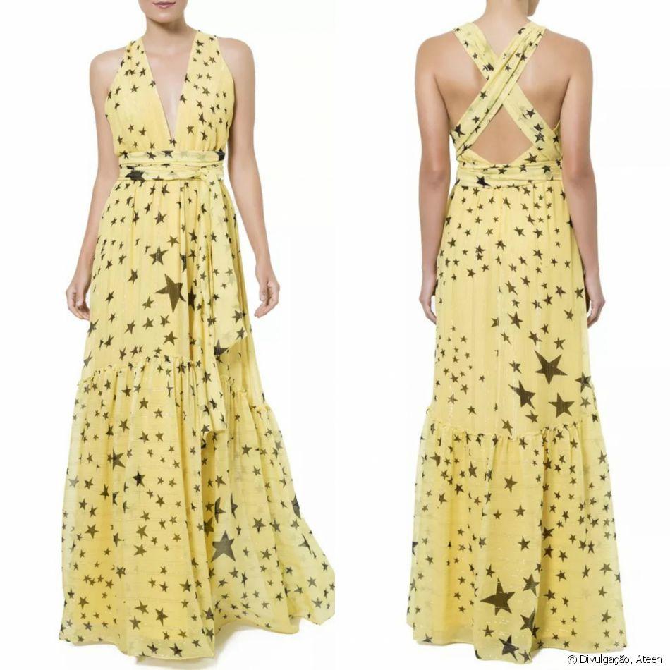 49dd27bae Estrelas para brilhar! O vestido longo frente única Ateen tem ...
