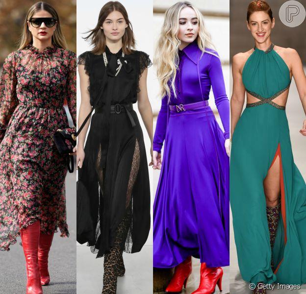 Inspire-se em looks com vestidos fluidos e botas e invista na combinação nesta temporada!