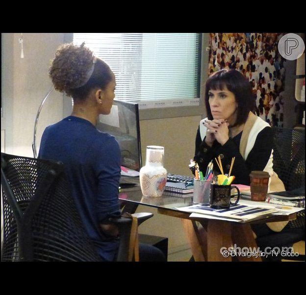 Verônica (Taís Araújo) conta para Débora (Marília Martins) que Jonas (Murilo Benício) tem um aneurisma cerebral, em 'Geração Brasil', em 30 de junho de 2014