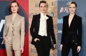 Evan Rachel Wood, de 'Westworld', troca vestidos por terninhos em eventos