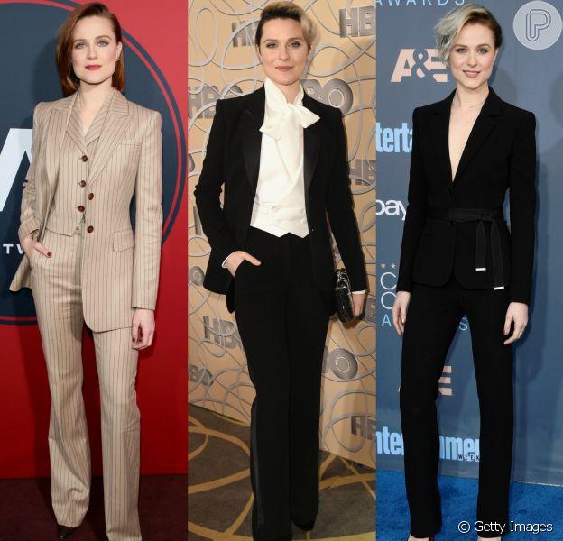 Evan Rachel Wood troca vestidos por produções de alfaiataria em eventos de gala e televisivos. Veja looks!