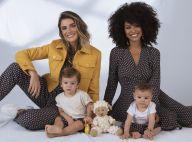 Sheron Menezzes e Rafa Brites posam com os filhos Benjamin e Rocco em campanha