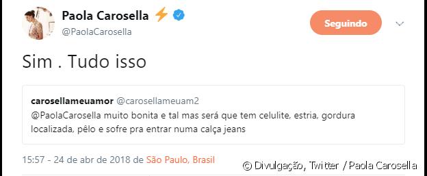 Paolla Carosella admitiu ter estrias, celulites e gordura localizada nesta terça-feira, 24 de abril de 2018