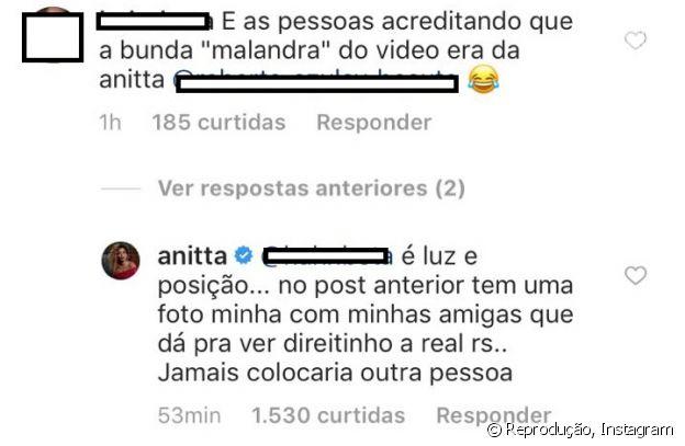 Anitta responde fã após comentário sobre seu bumbum