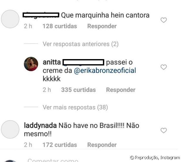 Anitta explica bronzeado após receber elogio em foto