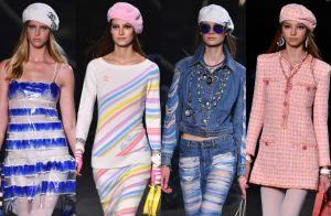 Chanel a bordo! Grife traz moda navy com plumas, listras e boinas em desfile