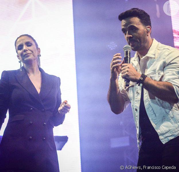 Ivete Sangalo, com look all black, divide palco com Luis Fonsi nesta sexta-feira, dia 04 de maio de 2018