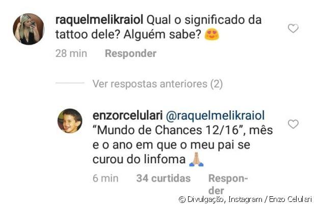 Enzo Celulari responde fã om significado de sua tatuagem