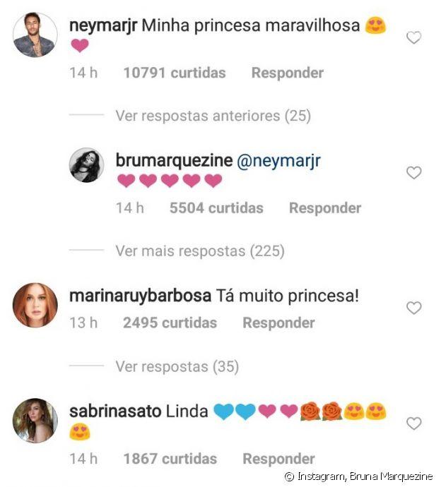Bruna Marquezine recebeu elogios de Neymar, Marina Ruy Barbosa e Sabrina Sato ao postar foto de look em Cannes neste domingo, dia 13 de maio de 2018