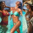 Juliana Paes não dispensou biquínis cortininhas e hot pants durante as férias no destino asiático