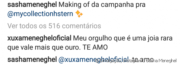 Sasha Meneghel mostrou making of de campanha e a mãe, Xuxa, comentou a foto