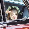 A princesa Charlotte, de 2 anos, chega para o casamento de Meghan Markle e do tio, o príncipe Harry, em Windsor