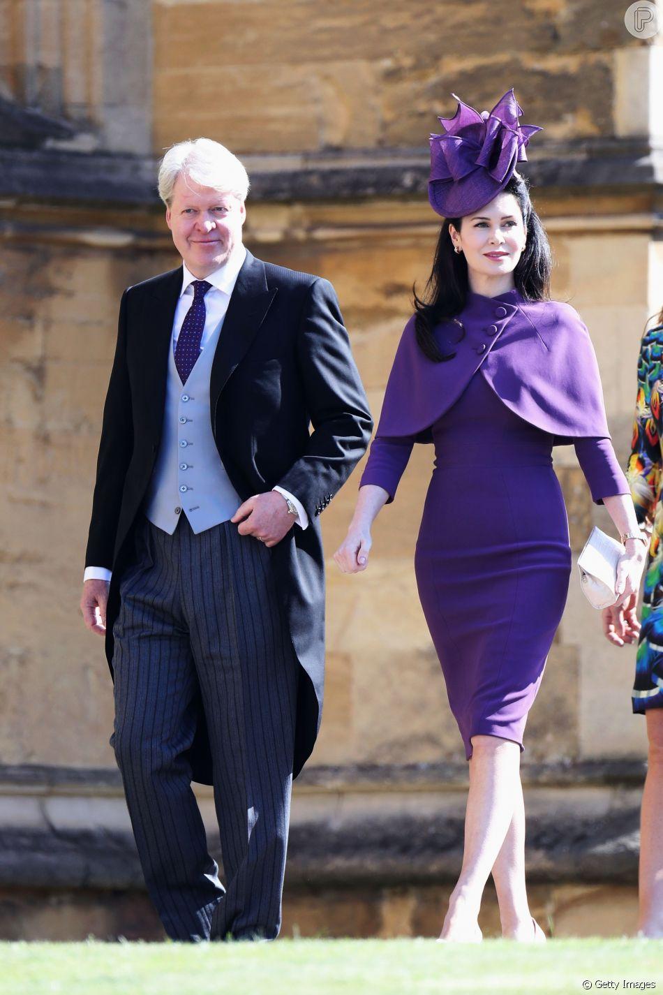 karen spencer ao lado do marido charles irmao da princesa diana no casamento do principe harry com meghan markle purepeople da princesa diana no casamento