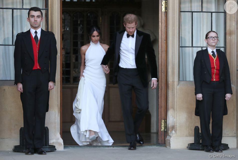 Meghan Markle escolhe vestido Stella McCartney para recepção após casamento com príncipe Harry, em Londres, em 19 de maio de 2018