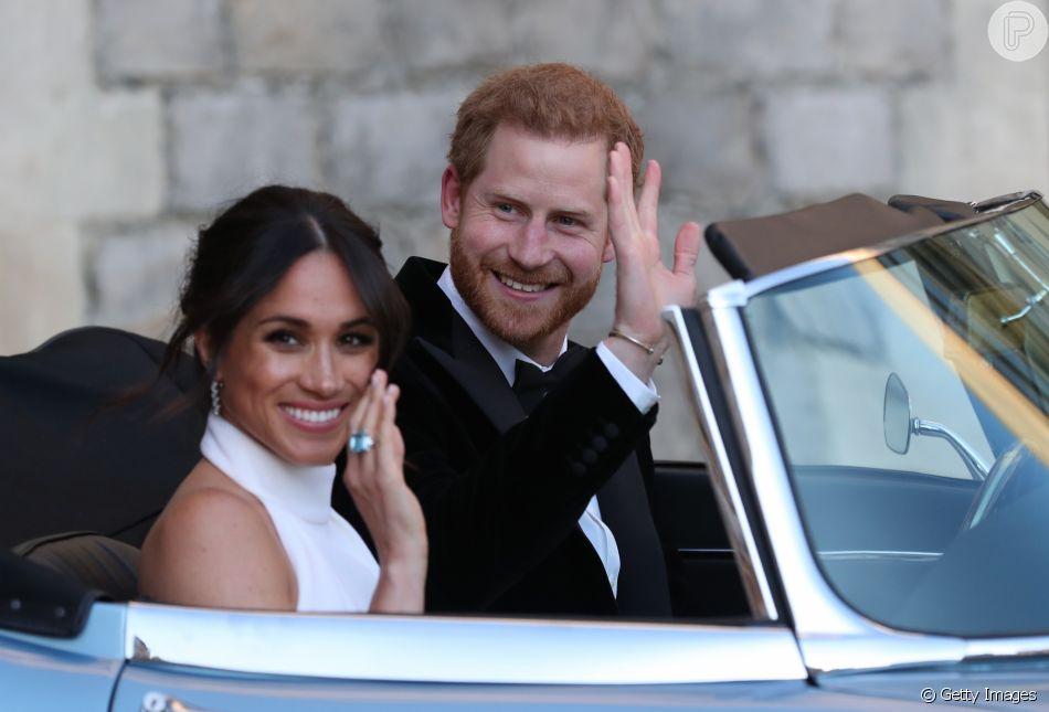 Meghan Markle usa anel da princesa Diana em recepção de casamento com príncipe Harry, em 19 de maio de 2018