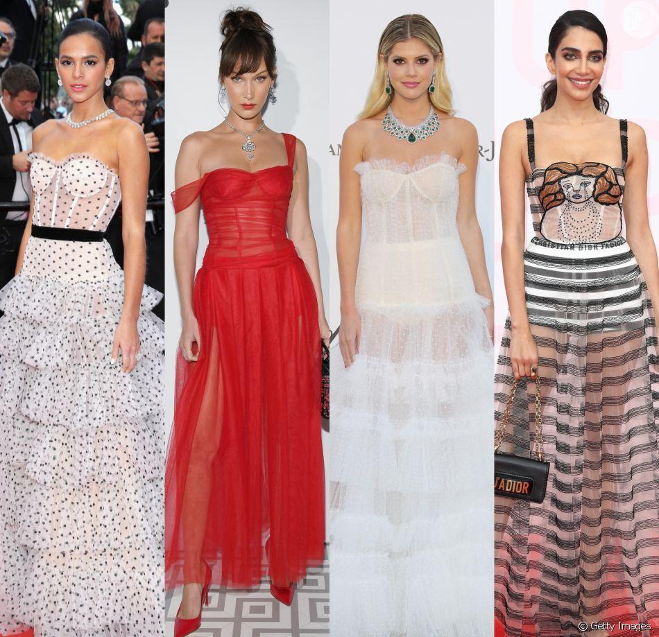 Os vestidos com corset foram escolha de famosas como Bruna Marquezine, Bella Hadid, Lala Rudge e Jessica Kahawaty durante o Festival de Cannes 2018. Inspire-se nos looks!