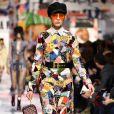 Além das botas, diversas peças em patchwork foram exibidas no desfile outono/inverno 2018 da Dior na Paris Fashion Week, na França, em 27 de fevereiro de 2018