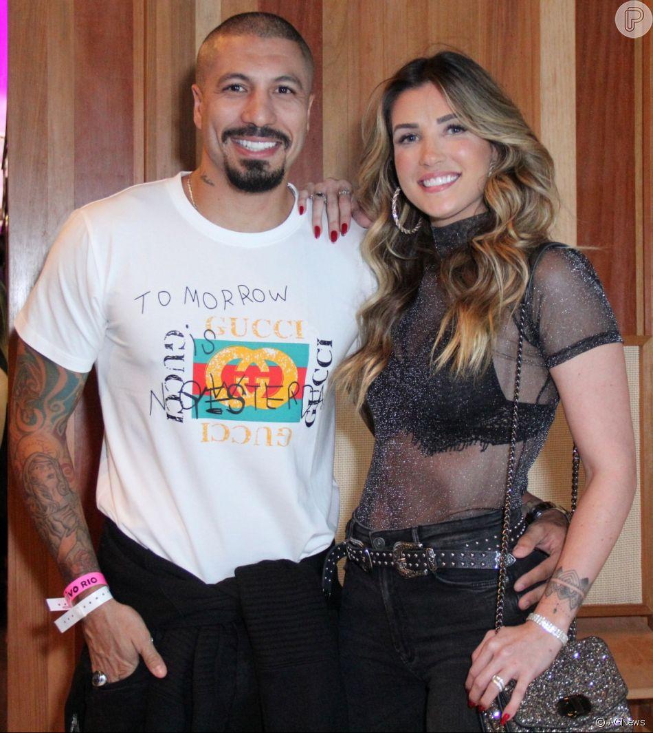 Aline Gotschalg afastou rumores de briga com Fernando Medeiros em post na web no domingo, 27 de maio de 2018