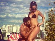 Sabrina Sato, grávida e de biquíni, ganha beijo de Duda Nagle na barriga. Foto!