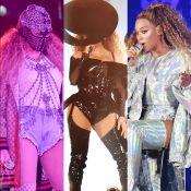 Máscara, vinil, look holográfico: veja os figurinos de Beyoncé na turnê 'OTR II'