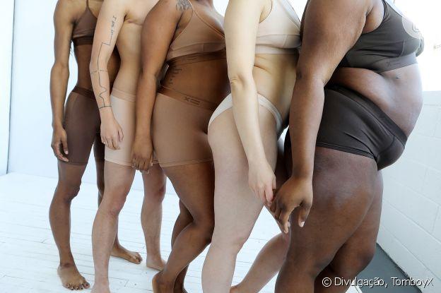 A marca TomboyX criou peças unissex com tons de nudes diversos