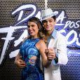 Lucas Veloso e Nathalia Melo foram pares no 'Dança dos Famosos', quadro do 'Domingão do 'Faustão'