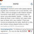 Neymar posta mensagem misteriosa no Instagram e Bruna Marquezine comenta com música de Maria Bethânia