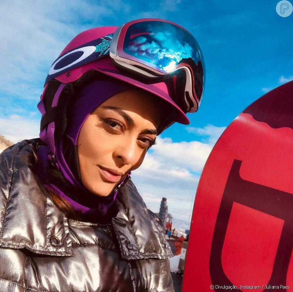 Juliana Paes postou no Instagram um vídeo enquanto praticava snowboard nesta quarta-feira, 19 de dezembro de 2018