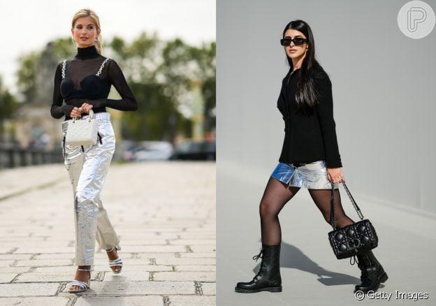 Roupas pretas com peças metalizadas estão na moda