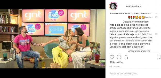 Fã repercute selinho de Giovanna Ewbank em Bruna Marquezine