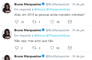 Bruna Marquezine dispensa indiretas pela web: 'Em 2019 as pessoas ainda mandam?'
