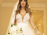 Vestido com cristal 3D e véu de 6 metros: o look de noiva de Gabi Brandt