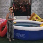 Ao vivo, Ana Maria Braga entra de roupa na piscina com netos: 'Piscininha, amor'