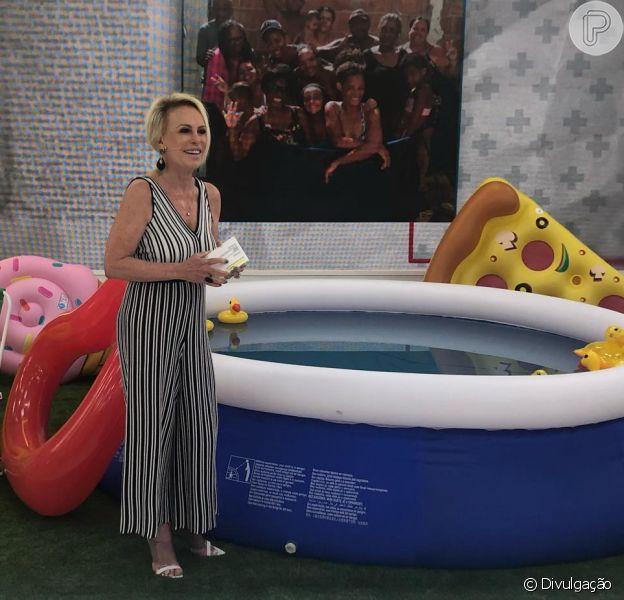 Ana Maria Braga estava se despedindo do público ao fim do programa 'Mais Você' e acabou carregada, com roupa e sapatos, para dentro da piscina, nesta quinta-feira, 24 de janeiro de 2019