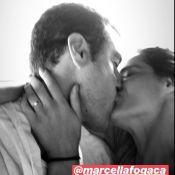 Beijão! Joaquim Lopes posta foto de momento romântico com Marcella Fogaça