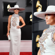 Looks do Grammy Awards 2019: JLo apostou no brilho das pedrarias e no chapéu.