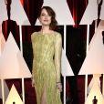 Emma Stone concorreu ao prêmio de Melhor Atriz Coadjuvante na 87ª edição do Oscar, em 2015. A atriz de 'Birdman' usou um vestido longo bordado da Elie Saab Couture, com uma fenda profunda e as costas abertas, e sandálias Christian Louboutin.
