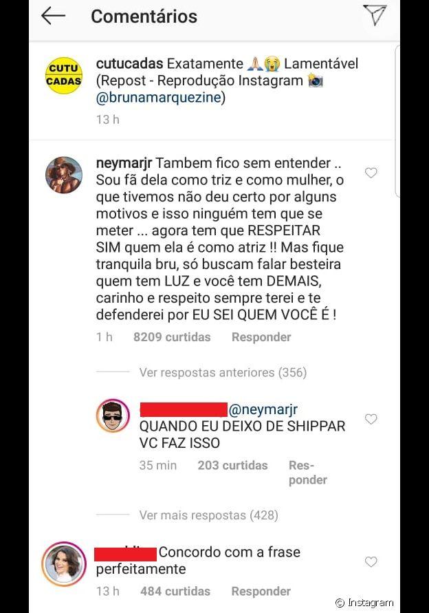 Neymar defende Bruna Marquezine de ataques
