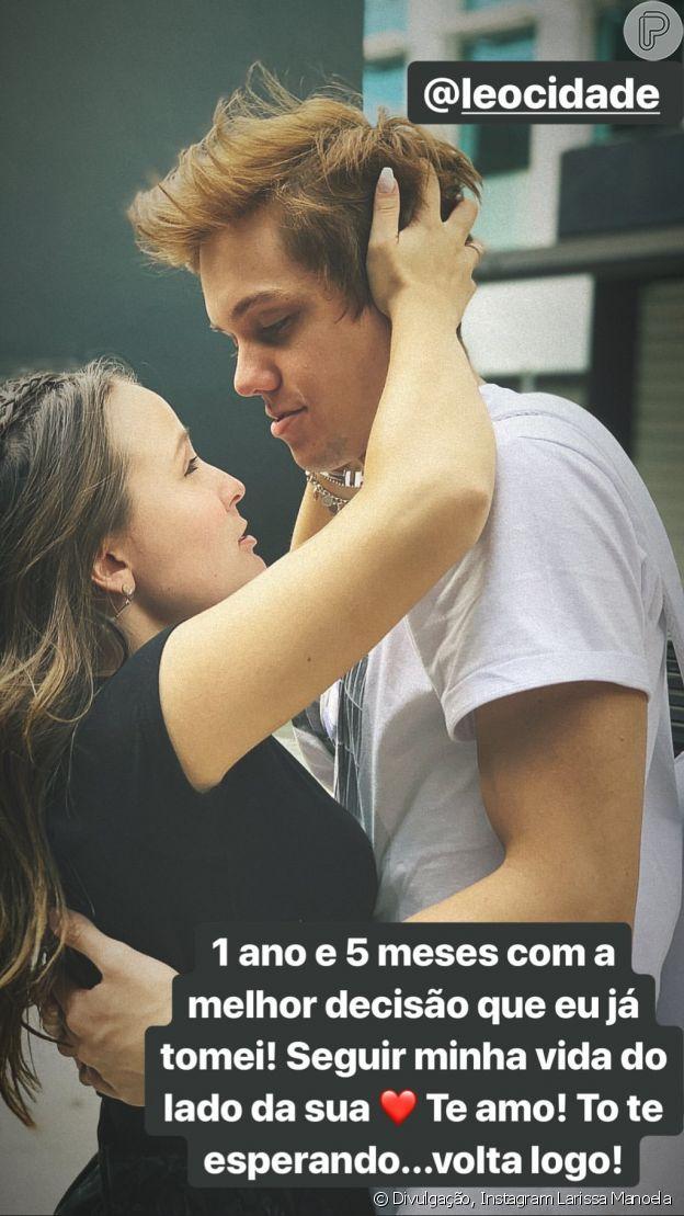 Larissa Manoela lamentou ausência de Leo Cidade no 17º mêsversário de namoro do casal: 'Volta logo'