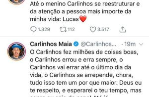 Carlinhos Maia desativa Instagram e Twitter após desculpas a Whindersson. Saiba!