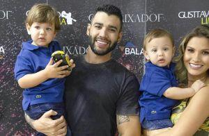 Filhos de Gusttavo Lima e Andressa Suita combinam looks em show do pai. Foto!